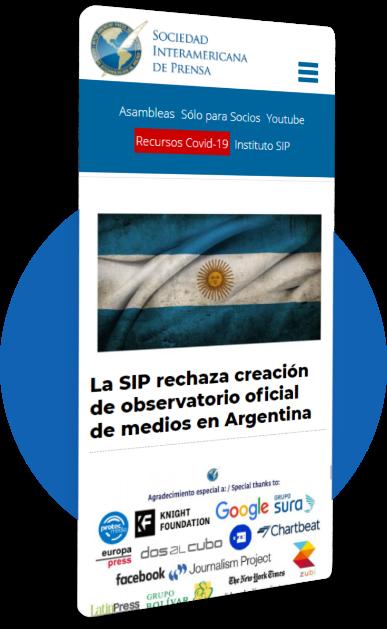 Sitio mobile de la Sociedad Interamericana de Prensa