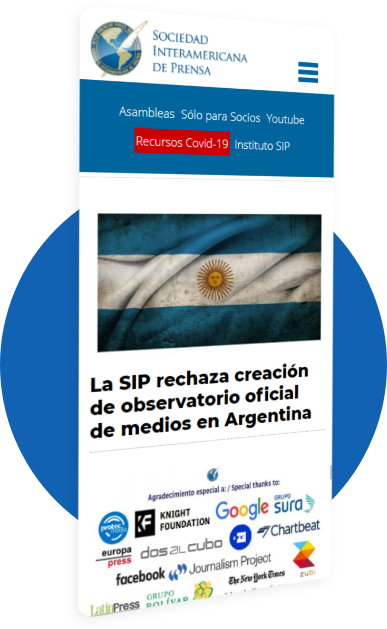 Inter American Press Association mobile website