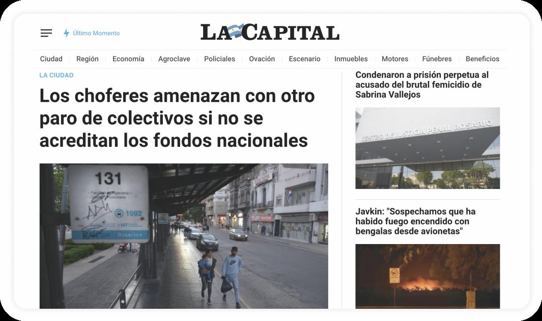Pantalla del portal de La Capital