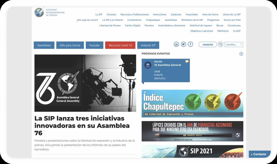 Pantalla del portal de la Sociedad Interamericana de Prensa