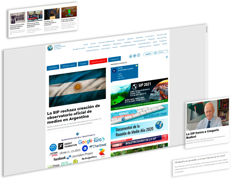 Pantalla del sitio de la Sociedad Interamericana de Prensa